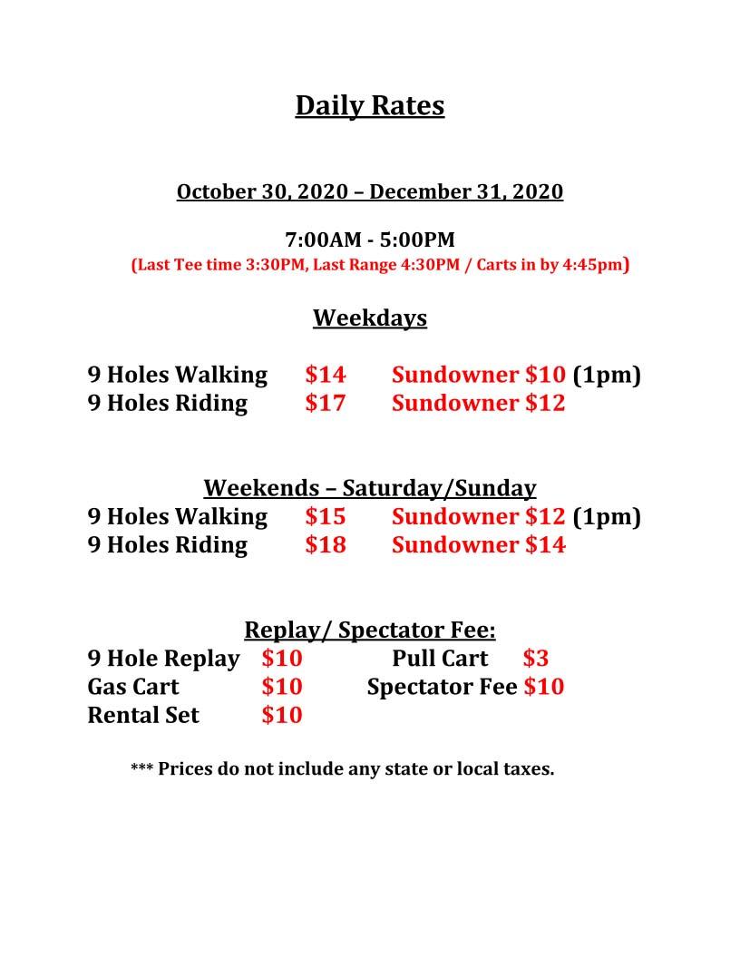 Updated Golf Rates November 2020